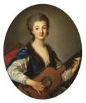 Femme guitariste, école française, XVIIIè siècle.  Notez l'usage des cordes doubles