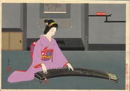 geisha jouant du koto