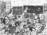 Une salle de classe un peu agitée... Dessin de Claude Razanajao